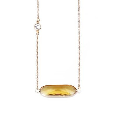 Crystal Necklace, Gold Plate, Gold  -