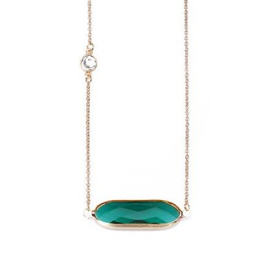 Crystal Necklace, Gold Plate, Emerald  -