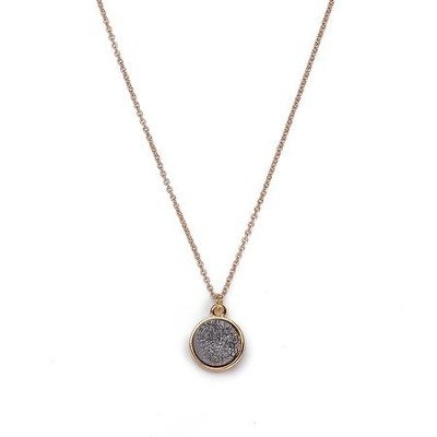 Druzy Necklace, Gold, Gray  -