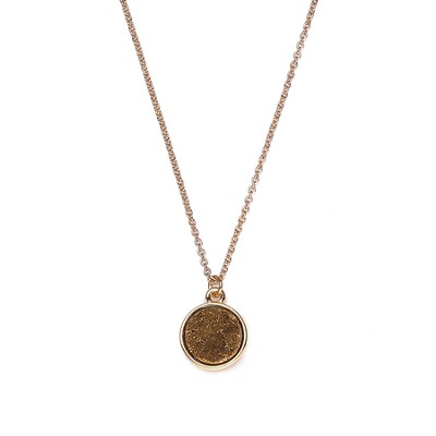 Druzy Necklace, Gold, Gold   -