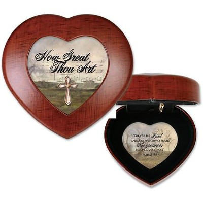 Wood Grain Heart Shaped Music Box, How Great Though Art  -