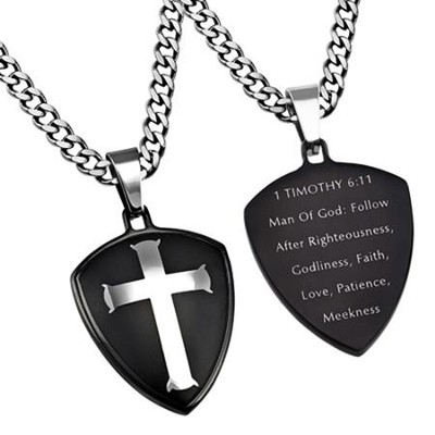 Man of God Shield Cross Necklace, Black  -