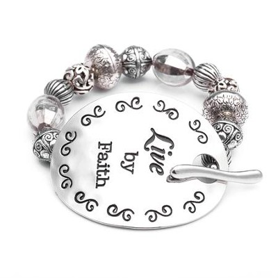 Live By Faith, Words To Live By Bracelet  -