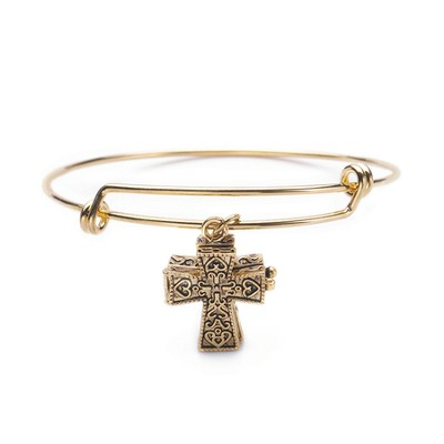 Cross Prayer Box Bangle Bracelet, Gold Plate  -