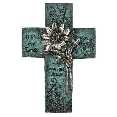 Floral Wall Cross, Turquoise  -