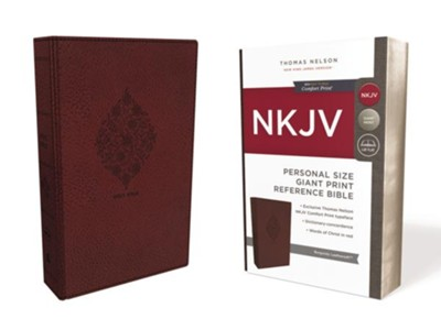 NKJV Comfort Print Reference Bible, Personal Size Giant Print, Imitation Leather, Burgundy  -
