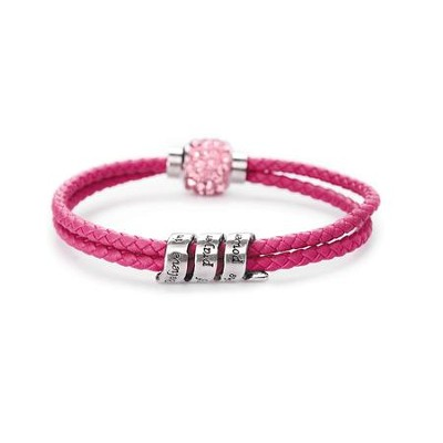 Doubled Leather Scroll Bracelet, Pink  -