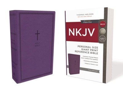 NKJV Comfort Print Reference Bible, Personal Size Giant Print, Imitation Leather, Purple  -