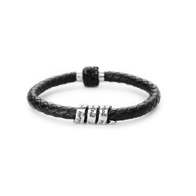 Leather Scroll Bracelet, Black  -