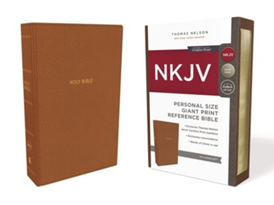 NKJV Comfort Print Reference Bible, Personal Size Giant Print, Imitation Leather, Tan  -