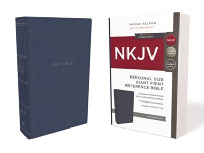 NKJV Comfort Print Reference Bible, Personal Size Giant Print, Imitation Leather, Blue  -