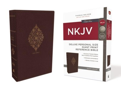 NKJV Comfort Print Deluxe Reference Bible, Personal Size Giant Print, Imitation Leather, Burgundy  -