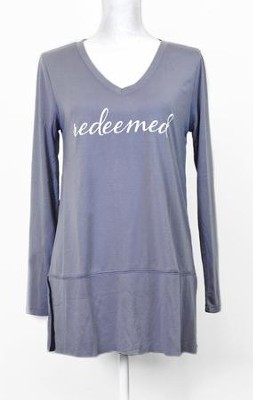 Redeemed, Long Sleeve Shirt, Gray, Small  -