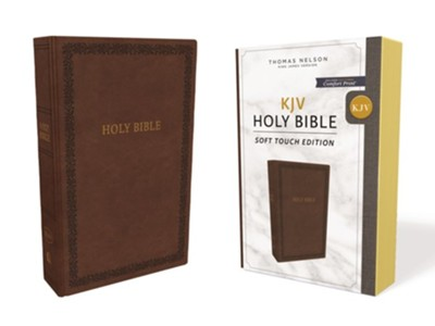 KJV Comfort Print Holy Bible, Soft Touch Edition, Imitation Leather, Brown  -