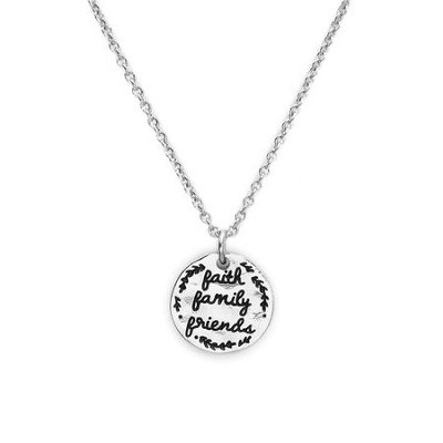 Faith, Family, Friends, Token Necklace, Rhodium Plate  -