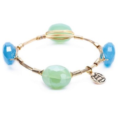 Stone And Wire Bracelet, Faith, Family, Friends, Light Green & Blue  -