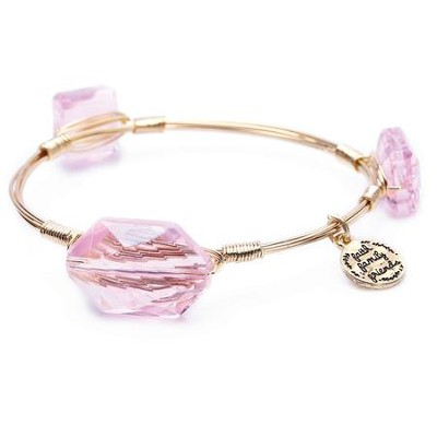 Stone And Wire Bracelet, Faith, Family, Friends, Light Pink  -