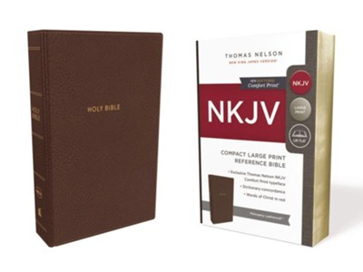 NKJV Comfort Print Reference Bible, Compact Large Print, Imitation Leather, Brown  -