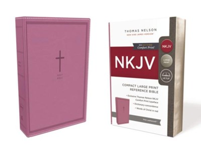 NKJV Comfort Print Reference Bible, Compact Large Print, Imitation Leather, Pink  -