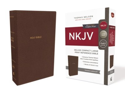 NKJV Comfort Print Deluxe Reference Bible, Compact Large Print, Imitation Leather, Brown  -