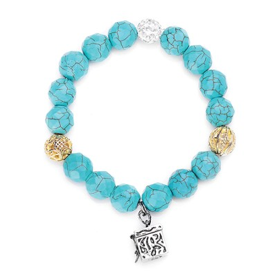 Prayer Box, Stone Bracelet, Turquoise  -