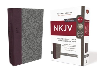 NKJV Comfort Print Deluxe Reference Bible, Compact Large Print, Imitation Leather, Purple  -