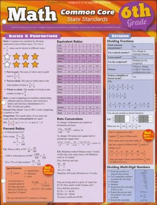 6th Grade Math Common Core State Standards QuickStudy Chart  -