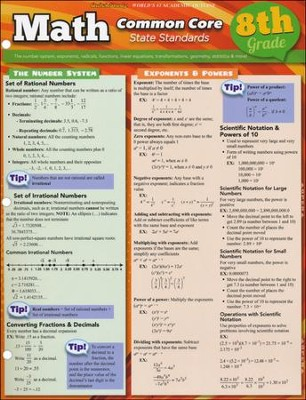 8th Grade Math Common Core State Standards QuickStudy Chart  -