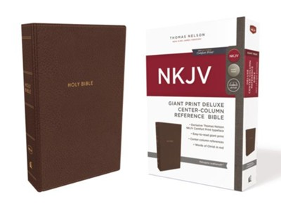 NKJV Comfort Print Deluxe Reference Bible, Center Column, Giant Print, Imitation Leather, Brown  -
