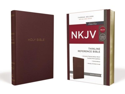 NKJV Comfort Print Thinline Reference Bible, Leather-Look, Burgundy  -