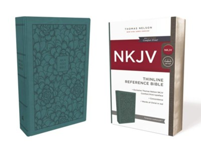 NKJV Comfort Print Thinline Reference Bible, Imitation Leather, Turquoise  -