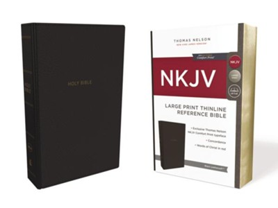 NKJV Comfort Print Thinline Reference Bible, Large Print, Imitation Leather, Black  -