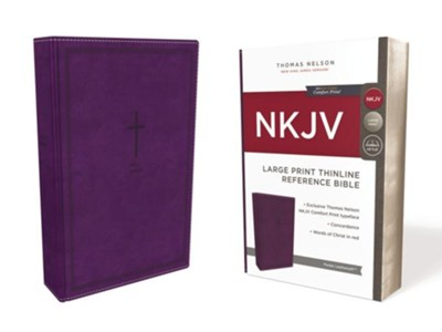 NKJV Comfort Print Thinline Reference Bible, Large Print, Imitation Leather, Purple  -