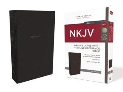 NKJV Comfort Print Deluxe Thinline Reference Bible, Large Print, Imitation Leather, Black  -