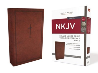 NKJV Deluxe Thinline Reference Bible, Large Print, Imitation Leather, Red  -