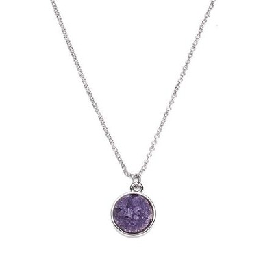 Druzy Necklace, Rhodium, Purple   -