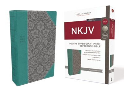 NKJV Comfort Print Deluxe Reference Bible, Super Giant Print, Imitation Leather, Blue  -