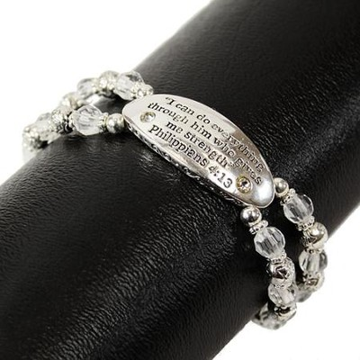 I Can Do All Things, Philippians 4:13 Bracelet, Silver and Crystal  -