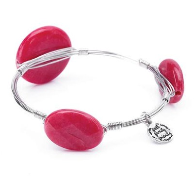Stone And Wire Bracelet, Faith, Family, Friends, Dark Pink  -