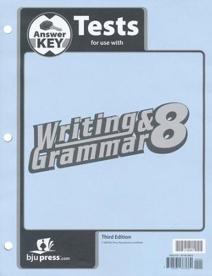 BJU Writing & Grammar Grade 8, Tests Answer Key (Third Edition)    -