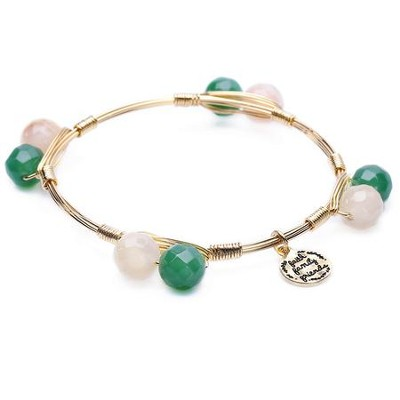 Stone And Wire Bracelet, Faith, Family, Friends, White & Green  -