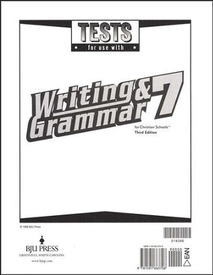BJU Writing & Grammar Grade 7, Tests (Third Edition)    -