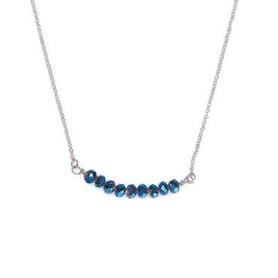 Seed Of Faith Necklace, Rhodium Plate, Dark Blue  -