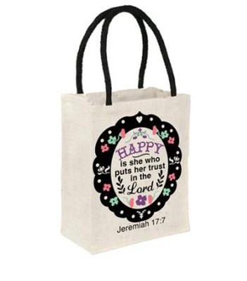 Happy Is She Who Puts Her Trust In the Lord Tote Bag  -