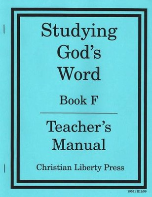 Studying God's Word Level F, Teacher's Manual, Grade 5        -     By: Homeschool