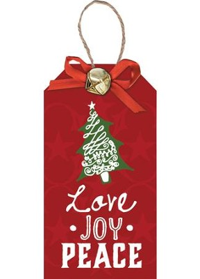 Love Joy Peace, Christmas Tag Ornament  -