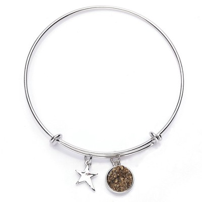 Druzy Bracelet, Rhodium, Gold, Star  -