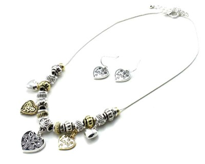 Heart Charm Necklace and Earrings, Twotone  -