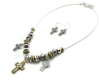 Cross Charm Necklace and Earrings, Twotone  -