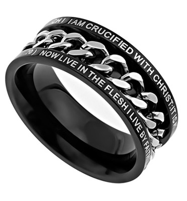 Crucified Chain Ring , Size 14 (Galatians 2:20)  -